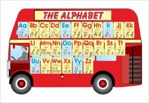 Англійський алфавіт в формі лондонського автобуса
